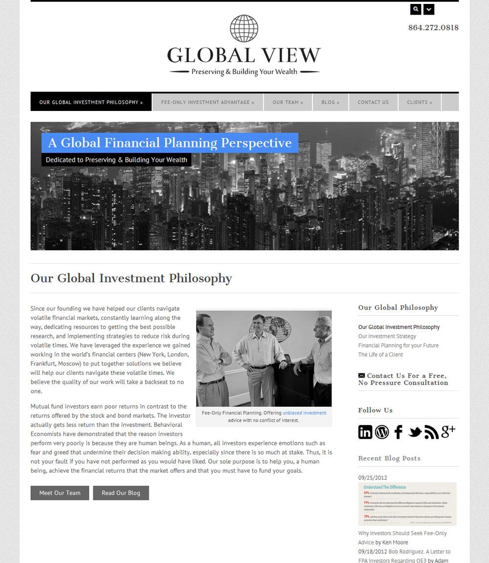 Website Design & Development - Global View Investment Advisors