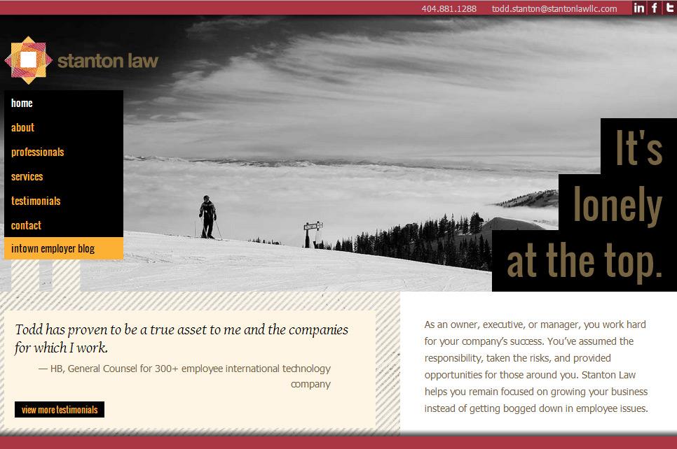 Stanton Law Firm's website establishes their target market immediately.